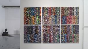 13. Masterpieces II, Installation view, left Senka Trivunac,Shadow, metal, 200 x 90 x 90 cm; right Tijana Mrvošević, Untitled, Acrilyc and oil on canvas, 206 x 312 cm