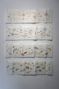 16. Masterpieces II, Ana Aleksić, from the Scrolls series, coloured pencils on rice paper, 38,5 x 137,5 cm (each)
