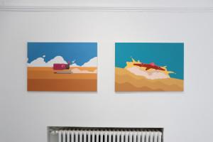 17. Masterpieces II, Petar Kovačević, left Glider, acrilyc on canvas, right AIrcraft, acrilyc on canvas, 100 x 70 cm