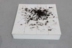 6. Masterpieces II, Vanja Rebić, Black hair of mine, ceramic tiles, dog's hair, 60 x 60 cm