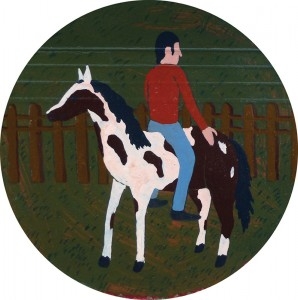 Horse rider in blue jeans, 2013 acrylic on cardboard, 13 x 13 cm