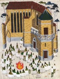 Lighting the fire, 2013, acrylic on canvas, 54 x 75 cm